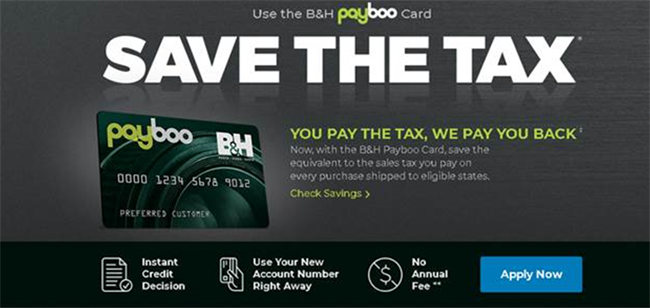 B&H launches PayBoo credit card - save on sales tax!