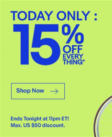 Flash Sale: 15% off almost everything in ebay