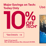 10% discount off most tech on ebay canada and ebay USA