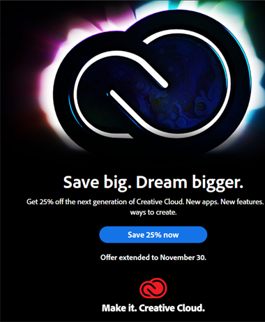 Adobe Creative Cloud Cyber Monday Deal